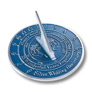 25th Silver 2021 Wedding Anniversary Sundial Gift By The Metal Foundry