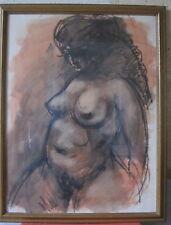 sanguine fusain nu femme signé R.Girard tableau dessin