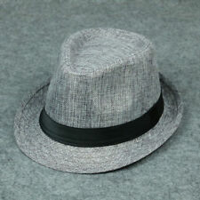 Men Women Summer Beach Sun Hat Unisex Jazz Panama Trilby Fedora Hat Gangster Cap
