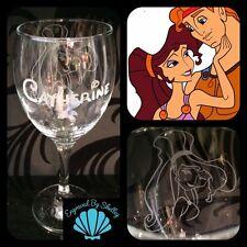 Personnalisé Disney Hercules Meg verre vin GRAVURE nom personnalisé fait main!