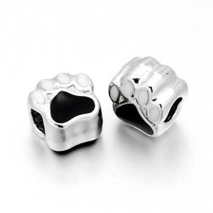 10pcs Alloy Enamel European Large Hole Dog Paw Print Beads Metal Spacer 11x10mm