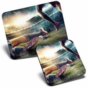 Mouse Mat & Coaster Set - Football Sports Game Stadium Ball  #21546