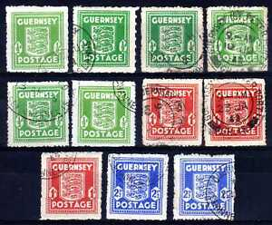 WW2 GERMAN OCCUPATION ISSUES: GUERNSEY 1941-4 USED SHADES SELECTION (11)