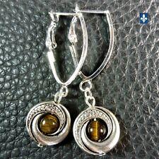♥ SHIP TO QC CA USA EU UK Elegant Tiger Eye Pendant Plated Silver Frame Earrings
