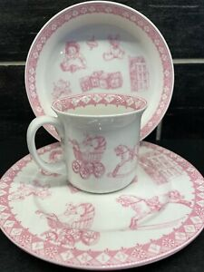 Vtg White Pink Child's Bowl Plate Cup Gift For Girl Queens Baby Gift Dish Set