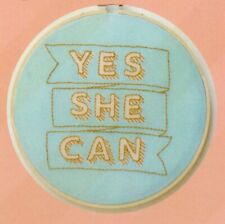 Cotton Clara - Embroidery Kit - Yes She Can Blue And Gold - 21cm Hoop Included