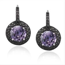 925 Silver Amethyst & Black Diamond Accent Round Leverback Earrings