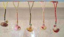 5 pc Sanrio Hello Kitty Japanese Food Cell Phone Strap Charm Set