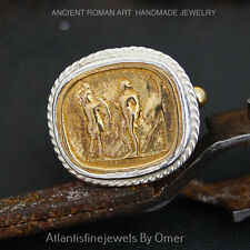 Free Sizing* Sterling Silver Ancient Roman Art Granulated Coin Ring By Omer