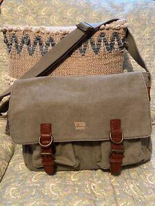 Troop London Canvas Messenger Bag Khaki