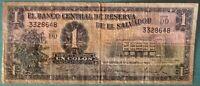 EL SALVADOR 1 COLON NOTE ISSUED 17.08. 1960, P 90 b