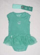 EUC Naartjie Baby Girls Teal Green/Blue Sun Suit Romper and Headband Set 3-6 M