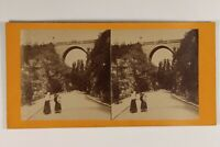 Francia Parigi Buttes-Chaumont Pont c1890 Foto Stereo Vintage Albumina