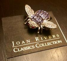 Joan Rivers Crystal Quilted Style Bee Pin Purple Silvertone Rare Estate Find Nib