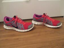 Used Worn Size 12 Nike Free Powerlines Shoes Challenge Red, Cool Grey, Black