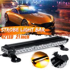 """21"""" 42 LED Amber & White Traffic Advisor Double Side Strobe Flash Light Lamp Bar"""