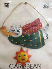 Hand Painted Metal Cat Art Ornament 3 1/4� X 4 1/4� New St. Thomas Vi