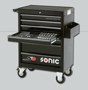 Werkstattwagen Werkzeugwagen Sonic S8 gefüllt 285-teilig schwarz rollbar