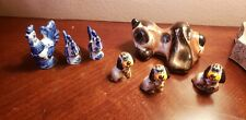 New listing Vintage Russian Small Lot Seven Porcelain Figurines Statuette Dog and Chicken.