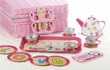Delton Children's Tin Tea Set for 4-Medium Size-19 pieces Pink Love #8001-9