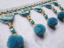 1pc Soft Blue Curtain 1M Trim Plush Ball Beaded Fringe Costume Upholstery Crafts