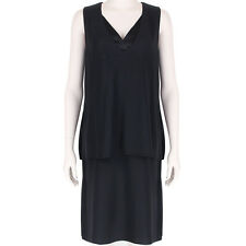 Adam Lippes Austere Black Layered V-Neck Shift Dress US2 UK6 IT38