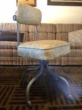 Mid Century Gold Floral Vinyl Steel Industrial Office Desk Chair Steelcase