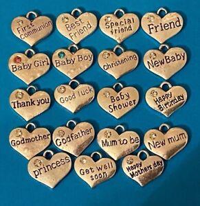 Occasions Birthday Friend Heart Charm Pendant Rhinestone Silver Tibetan Alloy