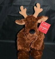 "Hallmark COMET Reindeer Sparkly Brown Soft Floppy 12"" Jingle Plush Hang Tag"