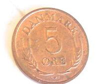DENMARK,1964 5 Ore, BRASS RED