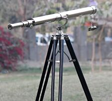 Nautical Marine Tripod Stand Decor Nautical Maritime Brass Arc Nickel Telescope