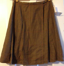 JOSEPHINE CHAUS Multi-Colored Neutral Plaid Wrap Skirt Size 8