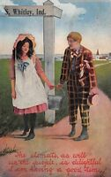 """""""Climate & People Are Delightful"""" in Whitley Indiana~Boy & Girl~Sign Post~1912"""