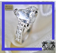 ☆SPLENDIDE BAGUE MARIAGE ALLIANCE 1CT DIAMANT SOLITAIRE OR BLANC 18K CARAT 5900E