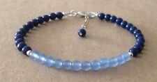 Lapis Lazuli+Brazilian Aquamarine, Sterling Silver, Beaded Friendship Bracelet
