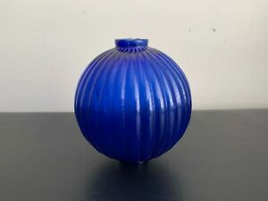 Antique Beautiful Cobalt Blue Glass Ribbed Lightning Rod Ball