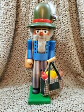 "STEINBACH NUTCRACKER 15¼"" S684 HAPPY WANDERER WITH SUITCASE AND SHOPPING BAG"