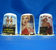 Birchcroft China Thimbles -- Set of Three -- Marilyn Monroe Film Posters