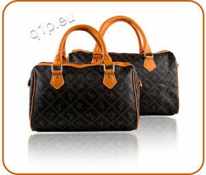 LOETJE  Handtasche Schwarz-Braun mit Muster Cognac Schultertasche NEU