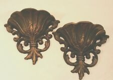 Set2 Vtg Heavy Metal Gold Gilt Wall Pocket Sconce Ornate Hollywood Regency Decor