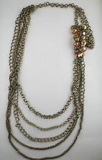 PREMIER QUALITY Dangling Topaz AB/Goldtone Bead Multiple Chain Tiered  Necklace