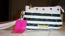 NWT BETSEY JOHNSON WRISTLET  CANDY STRIPE*BE MINE BLK/WHT* BLACK WHITE
