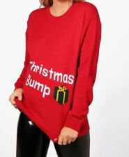 Maternity Christmas Bump Jumper Red Size S/M Brand New And Sealed