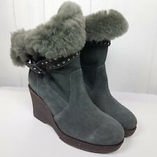 0a58c83586 Emu Boots Heighton Low Blue/Gray Wedge Womens Size 8 studded buckle