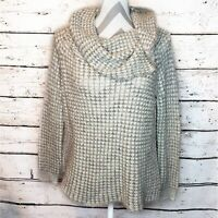 BB Dakota Cowl Neck Wool Blend Sweater Cream Chunky Knit Long Sleeve
