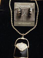 Swarovski Earrings & Handbag Purse Locket Necklace Signed - LOVELY! - New
