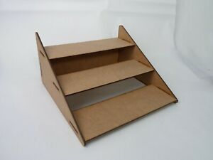 3 STEP WOODEN DISPLAY STAND - COUNTER, RETAIL PLINTH LASER CUT - TIERED SHELVES