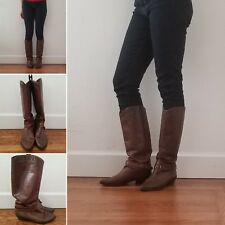 Vintage - Brown Leather Riding Boots - Women's 8