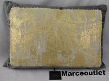 "New ListingMichael Aram Distressed Metallic Lace 14"" x 20"" Decorative Pillow Gray"