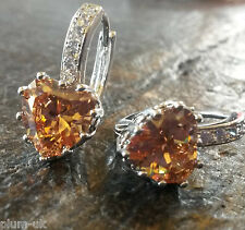 FH2 Plum UK sim diamond honey topaz heart,18k white gold gf French hoop earrings